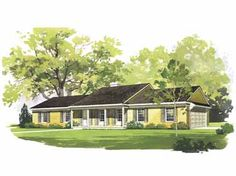 One Story House Plans With Porches - attached garage?