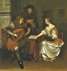 Gerard Terborch (Dutch Baroque Era painter, 1617-1681) Music Lesson 1668-9
