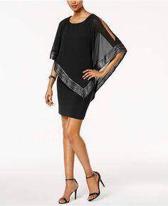 Sl Fashions Metallic-Trim Capelet Sheath Dress #silhouette#Sl#Cut