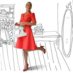 photography and illustration red dress cardboard accesoires