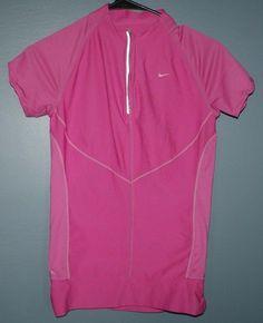 Nike fit dry pink athleticshort sleeve shirt zip chest womens size S 4-6 #Nike #ShirtsTops