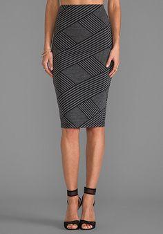 Jack by BB Dakota Caterina Stripe Pencil Skirt in Black