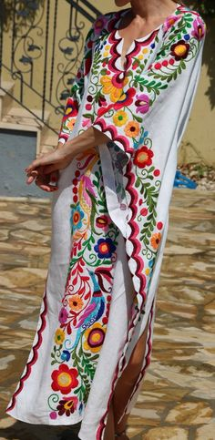 We are happy to offer you these vintage beauties, traditional wedding dresses. HAND EMBROIDERED! Vivid floral embroidery on the best linen fabric. The perfect wedding dress, also perfect for resort va