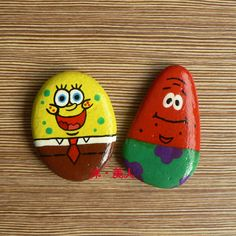 SpongeBob Patrick hand-painted stone for personality decoration Christmas gift