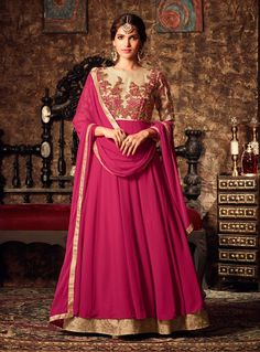 Buy Magenta Georgette Layered Anarkali Suit 89140 online at lowest price from vast collection at m.indianclothstore.c.