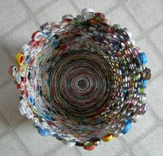 Base made from coiled strips of magazine.