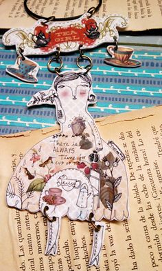 Tea Girl Necklace made with shrink plastic by AlteredbyThelma, $30.00