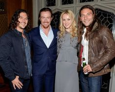 """... left, Toby Stephens, Hannah New and Zach McGowan, right, attend a private dinner for the new Starz original series """"Black Sails"""" at the ..."""