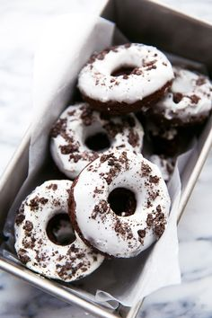 Chocolate donuts with crushed Oreo cookies baked right in, then topped with a vanilla glaze and more Oreos. For the kid in all of us.