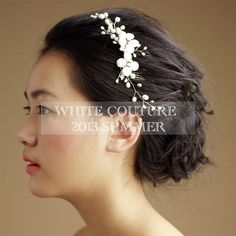 Bridal pearl headpiece vintage hair comb by WHITECOUTURE on Etsy