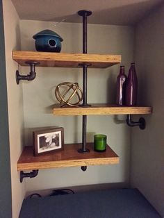 Vintage Industrial Decor industrial modern shelving and gaming cabinet Diy Pipe Shelves, Industrial Pipe Shelves, Industrial Home Design, Industrial House, Floating Shelves, Pipe Shelving, Industrial Style, Vintage Industrial, Pipe Bookshelf