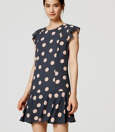 6932699ebdd Ann Taylor Loft Dot Flounce Dress Gray Pink Size L Free Shipping  1026