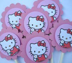 Toppers en cartulina con impresión figuras Hello Kitty