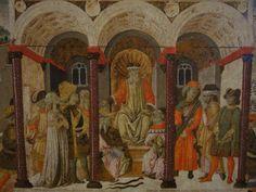 Ecouen-Musée Renaissance-Cassoni: TIBERIUS GRACCHUS ET CORNELIE:b)  .. par des artistes renommés. Peu nous sont parvenus dans leur état d'origine. L'histoire est divisée en 3 parties, avec une lecture de gauche à droite: le moment où Cornélie quitte la maison paternelle pour celle de son époux, enfin le sacrifice de Tibère, qui meurt en tuant le serpent mâle. E.CL 1745.