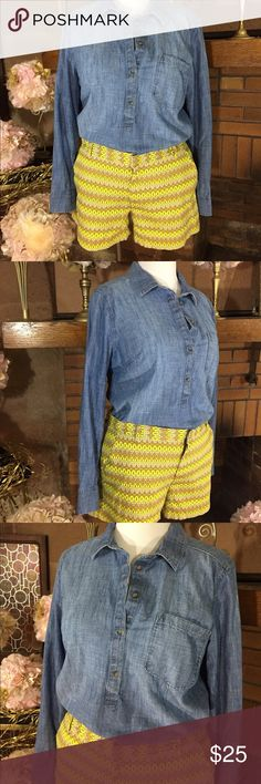 Chambray shirt and trouser short Joe Fresh lime, tan, and gray shorts, size 16. 4 inch inseam and 14 inches from hip to leg bottom. No stretch in waist but stretch in seat and thigh. Previously owned but worn only once. Chambray shirt by Merona 100% cotton, size XXL no stretch in shirt. Can be sold separately.  $10 for shorts and 15 for shirt just ask! Thanks for looking. Please check out all pictures for best description of the outfit. Joe Fresh Shorts