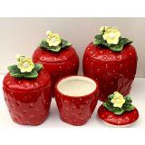 3 D Strawberry 4 piece Canisters Set 83501 Sale Strawberry Kitchen, Strawberry Recipes, Strawberry Patch, Strawberry Shortcake, Kitchen On A Budget, Kitchen Dining, Strawberry Pictures, Strawberry Decorations, Vintage Canisters