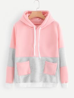 SheIn offers Color Block Pocket Hooded Sweatshirt & more to fit your fashionable needs. Hoodie Sweatshirts, Fleece Hoodie, Sweater Hoodie, Hoodies, Cool Outfits, Fashion Outfits, Lolita, Casual Tops For Women, Pulls