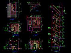 Gambar AutoCAD: Desain Denah dan Potongan Tangga Gedung 5 Lantai | KotakCAD
