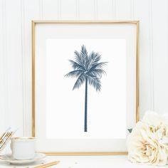Palm Tree Print, Printable Wall Art, Navy Blue Palm Tree, Palm Tree Art, Palm Wall Art, Digital Wall Art, Palm Wall Print, Navy Blue Print on Etsy, $5.00