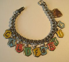 Vintage Metal Enamel California Souvenir Costume Charm Bracelet