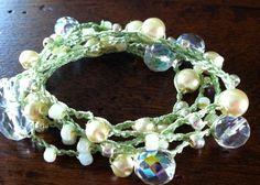 Pearl wrap crochet Bracelet or necklace Boho chic crocheted jewelry Cream pearls beach wedding on Etsy, $42.00