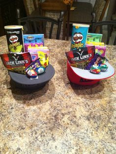 Teen boy gift basket. Would be a cute Easter basket for little boy with hat, new swim trunks and sunglasses plus snack.
