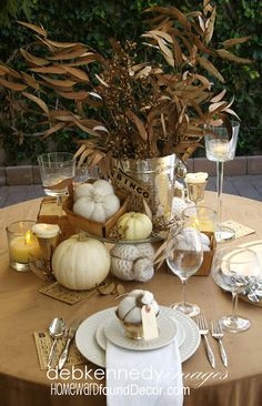 Thanksgiving Tablescape Three Ways: Part 3... Vintage Brown theme. on HOMEWARDfoundDecor.com