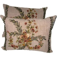 3400 Pair of 19th C. French Appliqued Linen Pillows | From a unique collection of antique and modern textiles at https://www.1stdibs.com/furniture/more-furniture-collectibles/textiles/