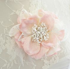 pink wedding hair flower