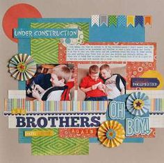 """2 photo 1 page Echo Park """"A Boy's Life"""" by Ginger Williams Kids Scrapbook, Pocket Scrapbooking, Scrapbook Paper Crafts, Scrapbook Albums, Scrapbooking Layouts, Scrapbook Cards, Scrapbook Photos, Scrapbook Generation, Picture Layouts"""