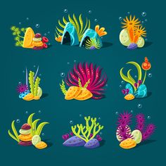 Set of cartoon algae by TopVectors on @creativemarket