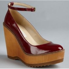 Stella Mccartney Cherry Faux Patent Leather Ankle Strap Wedges