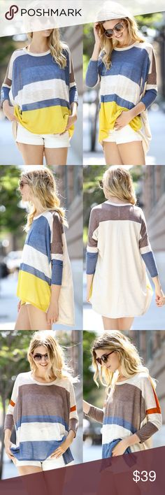 CHARLIE 3/4 sleeve color block top - MUSTARD/BLUE Made in USA. Also available in blue/mustard mix. NO TRADE, PRICE FIRM THERE WILL BE UNIQUE VARIATIONS FOR THE COLOR BLOCK PATTERN FOR EACH PIECE SO IT WONT LOOK EXACTLY AS PICTURED Bellanblue Tops