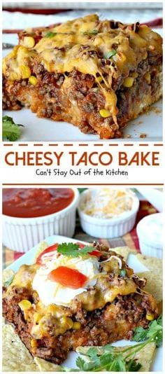 Cheesy Taco Bake Okay, I have a super delish recipe for you today. Cheesy Taco Bake combines the best of tacos with something like a Tamale Pie, except the crust is on the bottom instead of on the top. Easy Casserole Recipes, Casserole Dishes, Taco Bake Casserole, Taco Bake Recipes, Easy Taco Bake, Recipe For Taco Bake, Casserole Ideas, Taco Pie Bake, Mexican Casserole