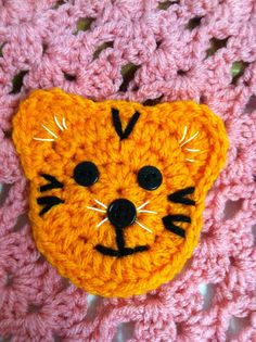 Crochet Applique ~ Tiger          ~ Very cute, & I think I can make similar to this.