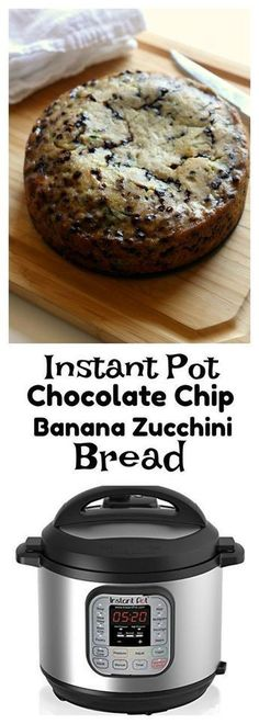 Instant Pot Chocolate Chip Zucchini Banana Bread–a moist quick bread (cake?) that is a cross between banana and zucchini bread. The bonus is that it's got mini chocolate chips too and it's made in your electric pressure cooker. Instant Pot Pressure Cooker, Pressure Cooker Recipes, Pressure Cooking, Pressure Cooker Cake, Instant Cooker, Zucchini Banana Bread, Bake Zucchini, Healthy Chocolate Zucchini Bread, Zuchinni Bread