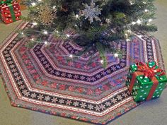 Striped Christmas Tree Skirt in Red Black White by MiladyCreations