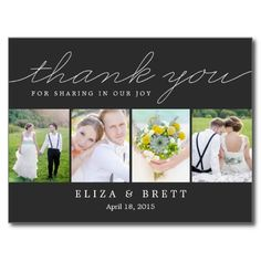 Sweet Collage Wedding Thank You Card - Charcoal Post Cards