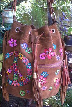 #FrancescaBoo #handpainted #bags #carteraspintadas #paint #peace #paz #flowers #flores