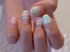 ☆春のセパレートフレンチ♬ペパーミントグリーン×パステルピンク☆ の画像|パリのネイルサロン Bijoux nails Paris
