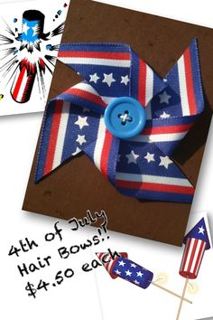 Patriotic Red White & Blue 4th of July Pinwheel Bows «