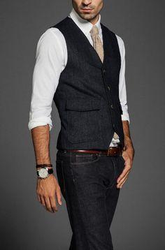 Love this look. Dark denim, dark wool waistcoat.
