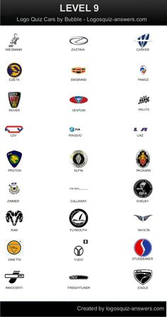 Level 9 for Android: Wiesmann, Zastava, Carver, Cizeta, Emgrand, Panoz, Rover, Venturi, Willys, Piaggio, Liaz, Proton, Elfin, Packard, Zimmer, Callaway, Shelby, RAM, Plymouth, Invicta, Ginetta, Yugo, Studebaker, Innocenti, Freightliner, Eagle.