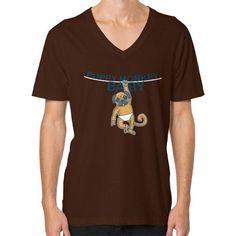 Puppy Monkey Baby Shirt V-Neck (on man) Shirt