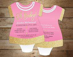 Pink and gold baby shower invitation  Onesie by LittleBeesGraphics