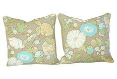 Linen & Velvet  Floral Pillows, S/2