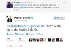 • pete wentz fall out boy Patrick Stump Peterick reinventgays •