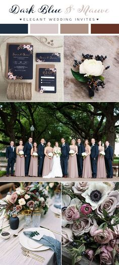 dark blue and mauve fall and winter wedding colors for 2018