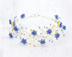Gold tiara, Wedding hair piece, Blue circlet of flowers, Forget-me-not circlet, Floral headband. Hair accessories bride, Country wedding.