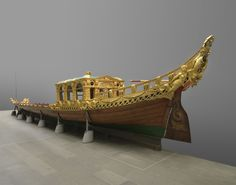 Prince Frederick's Royal Barge This royal barge was built in 1732 for Frederick, Prince of Wales, son of George II. It was built by John Hall and designed by the architect William Kent. The barge is. Barge Boat, Vietnam, Royal Collection Trust, Maritime Museum, Canal E, Prince Of Wales, Sea Creatures, James Richards, Crown